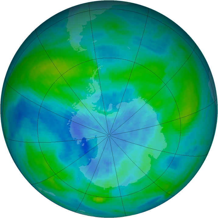 Antarctic ozone map for 18 March 1989